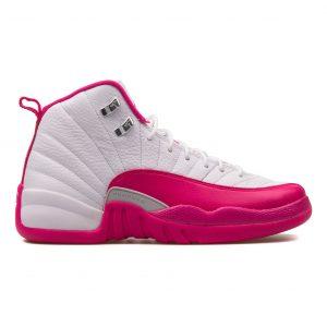 Nike Air Jordan 12 Retro pink and white sneaker