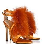 Emilio Pucci orange fur sandals