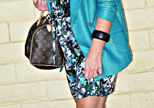 floral print dress and bag
