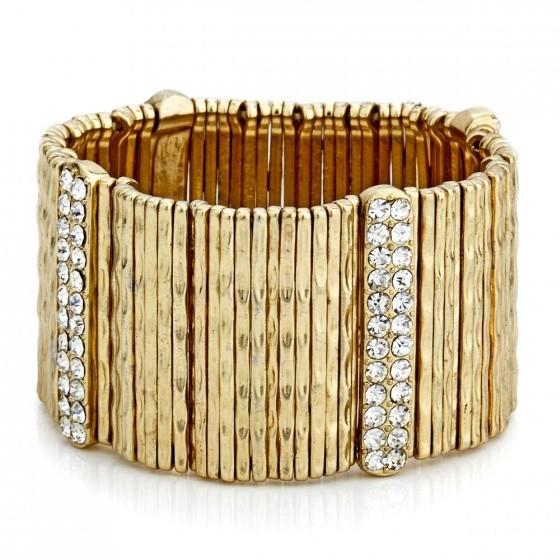 gold crystal embellished cuff bracelet