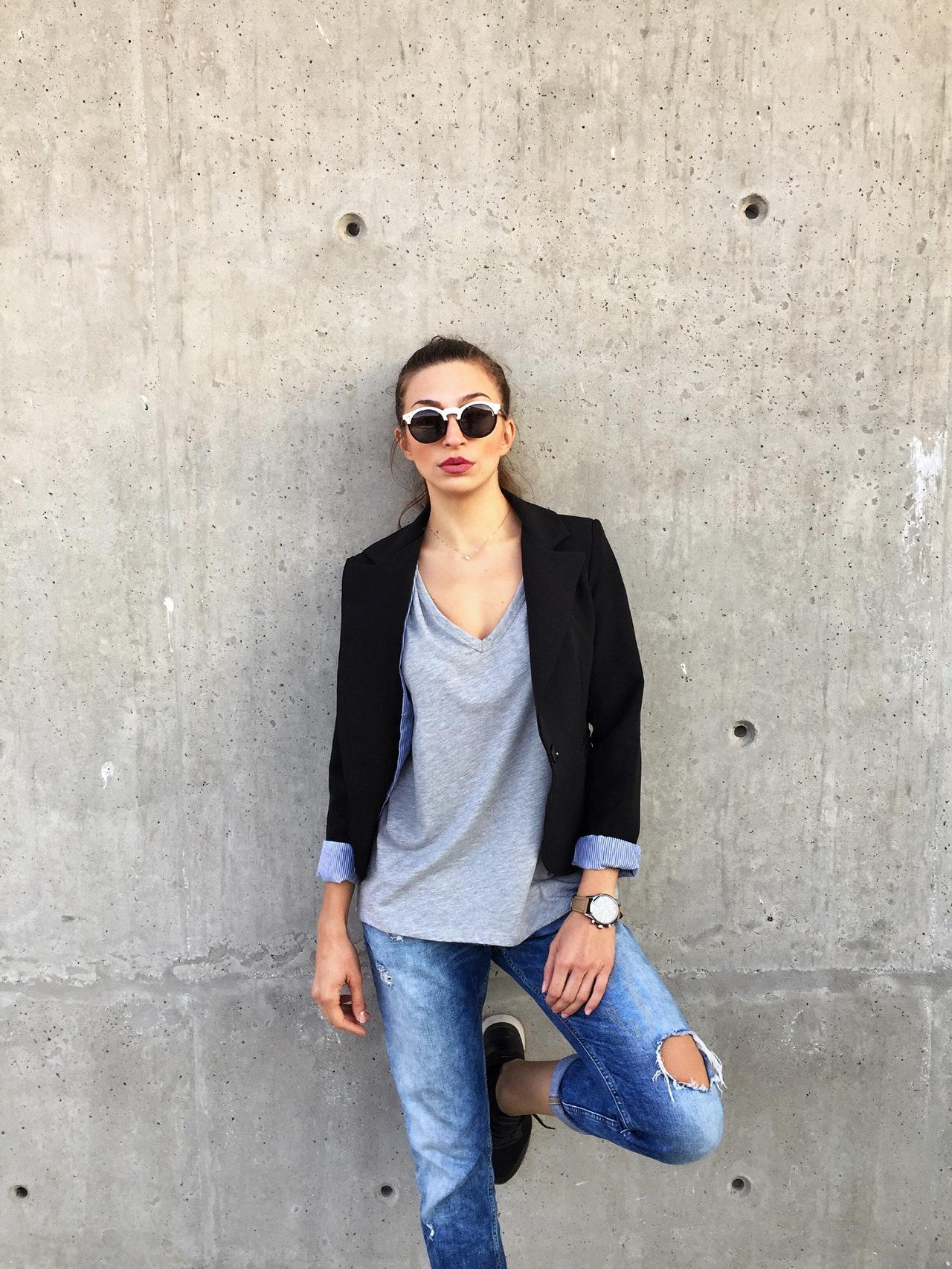 woman in a black blazer