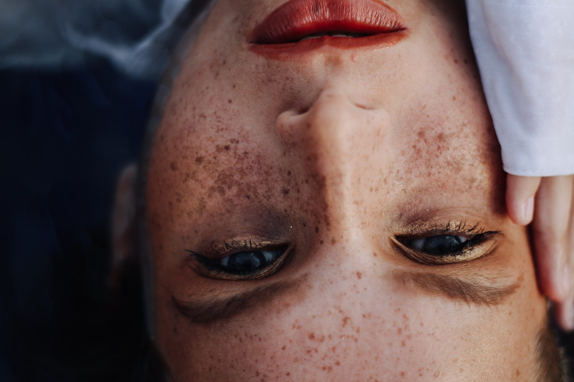woman face upside down