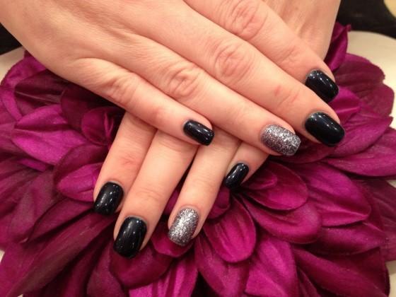 dark nail polish and glitter