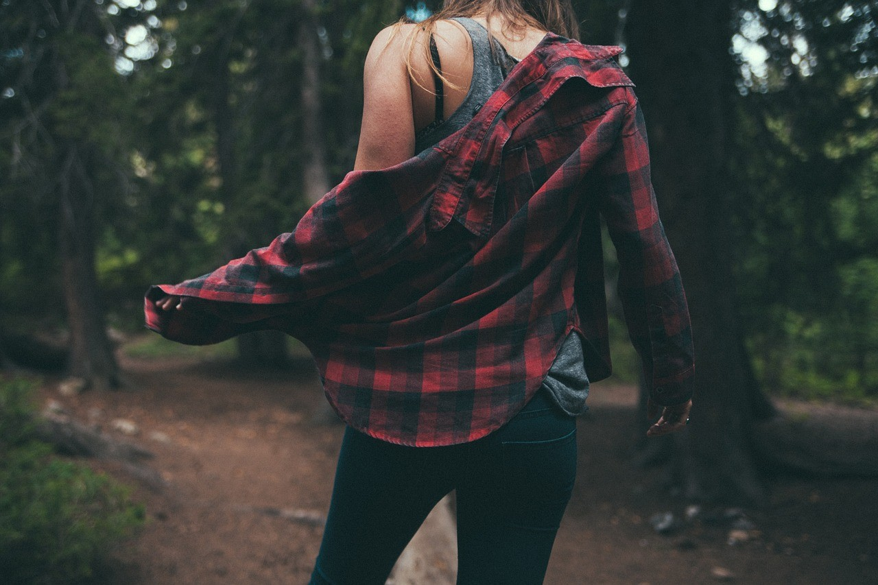 woman in tartan shirt
