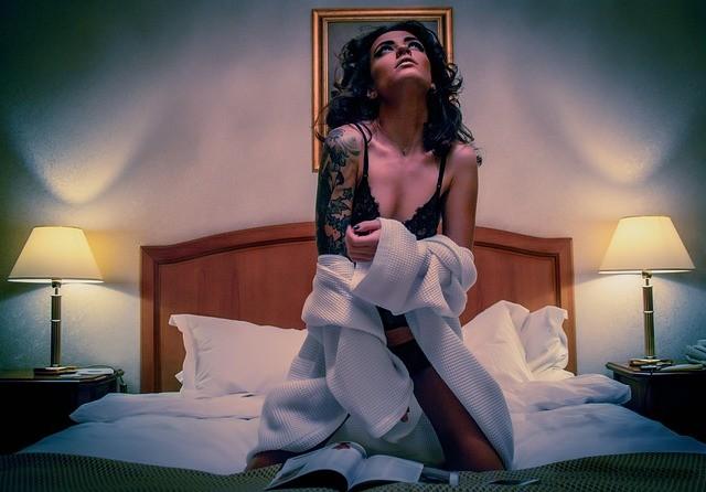 woman in sexy sleepwear
