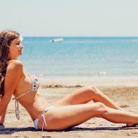 woman getting tan