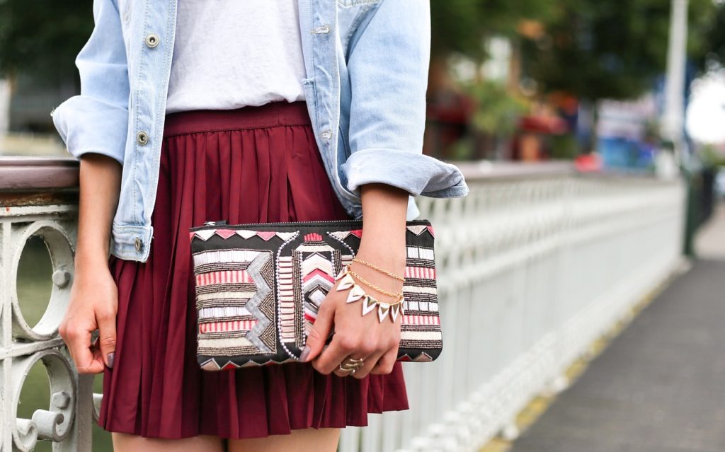 fashionista in a pleated skirt