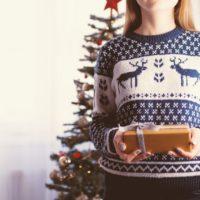 fair isle sweater on a woman