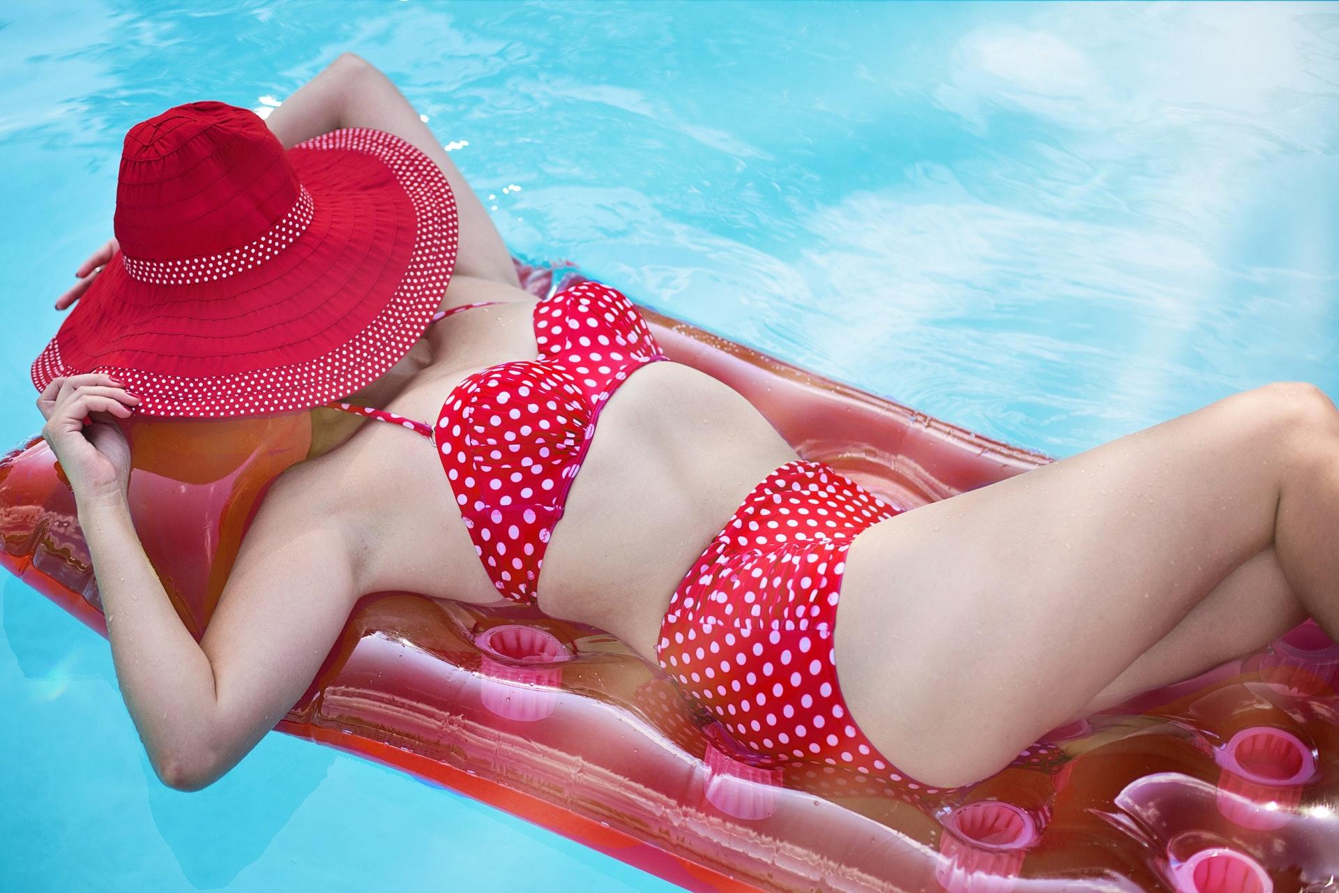 red dotted high waisted bikini