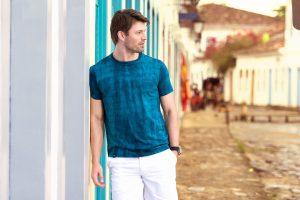 man in a tie-dye t-shirt