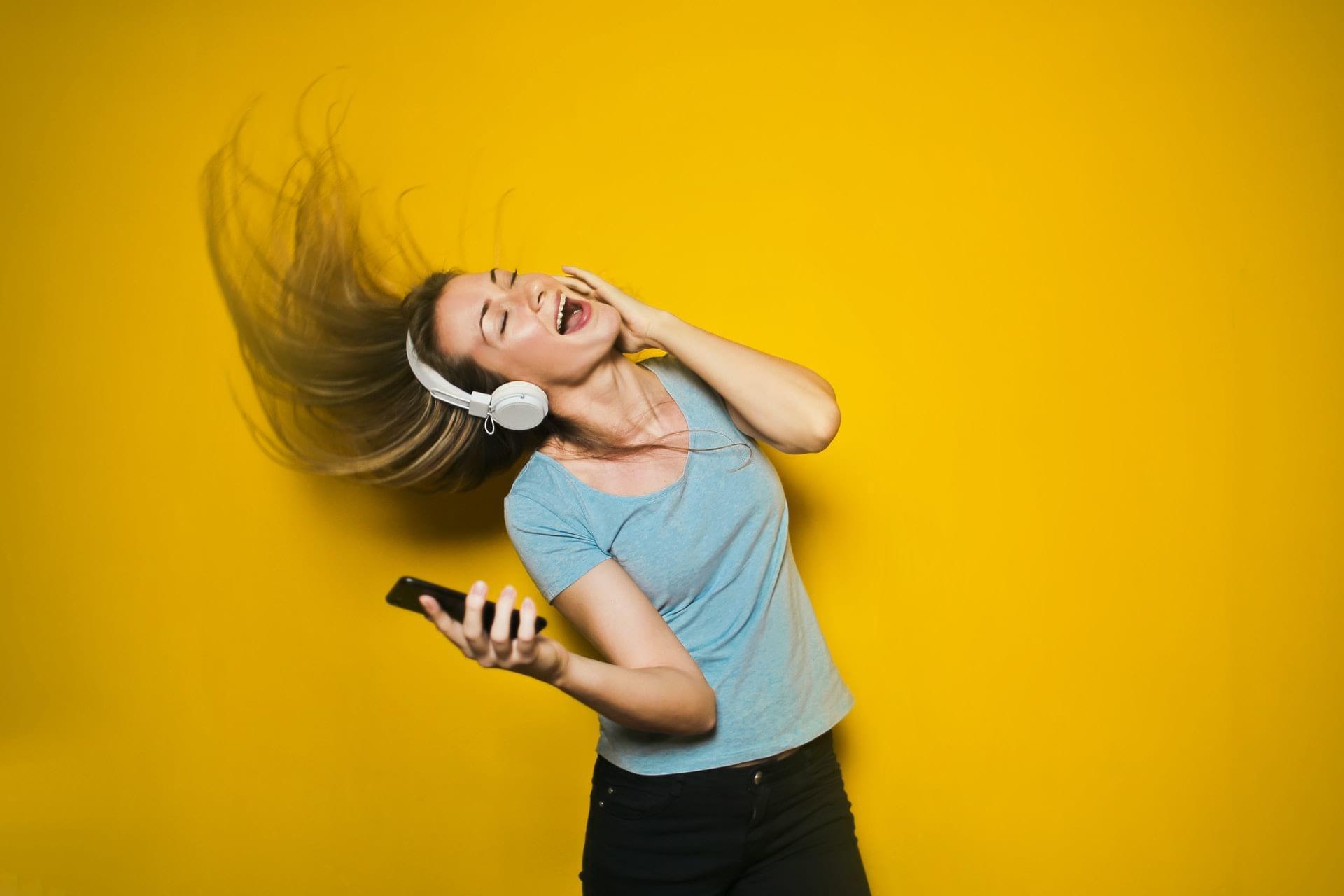 woman with fancy headphones