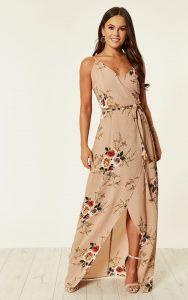 bridesmaid floral wrap dress