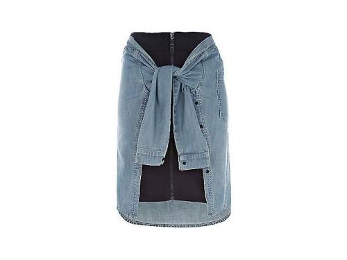 Denim shirt zip skirt