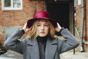 woman in a tweed coat