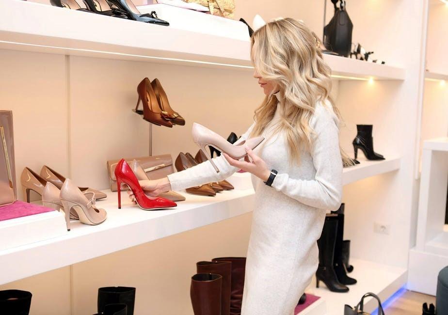 woman shopping heels